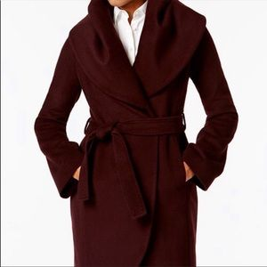 TAHARI Oversized Collar Pea Coat